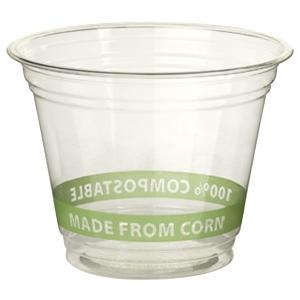 A bioplastic drinks cup with the words 'made from corn'.